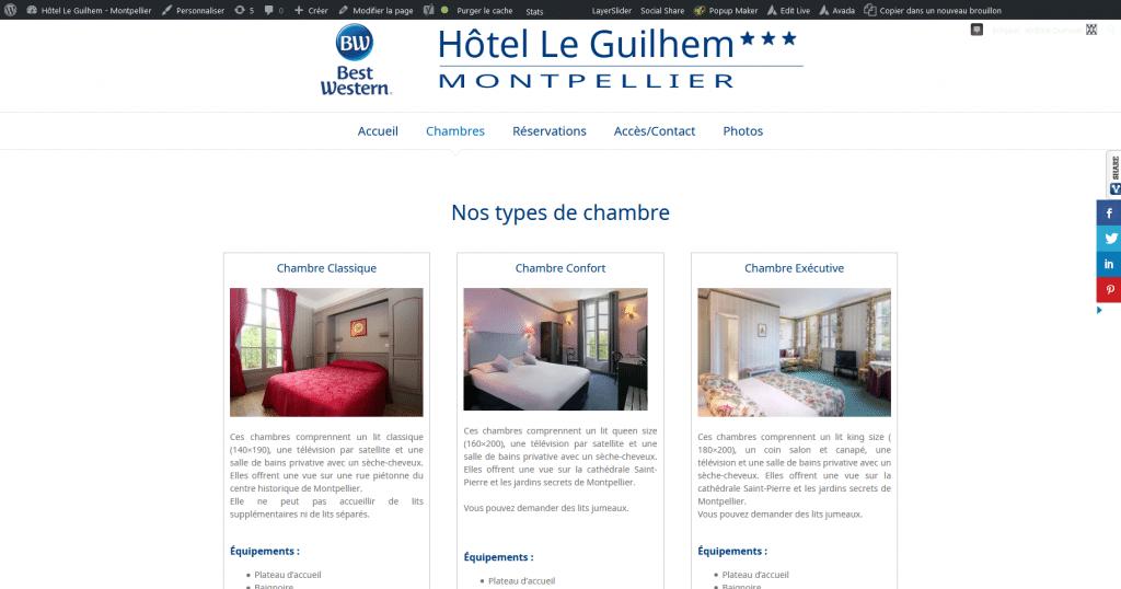 Chambres Hôtel Le Guilhem Montpellier